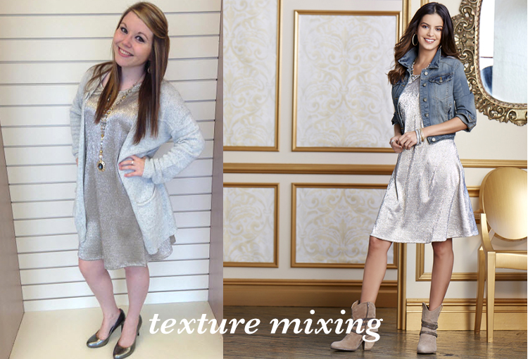 Texture Mixing. A Cato associate poses for the camera wearing a metallic silver dress and a denim jacket.