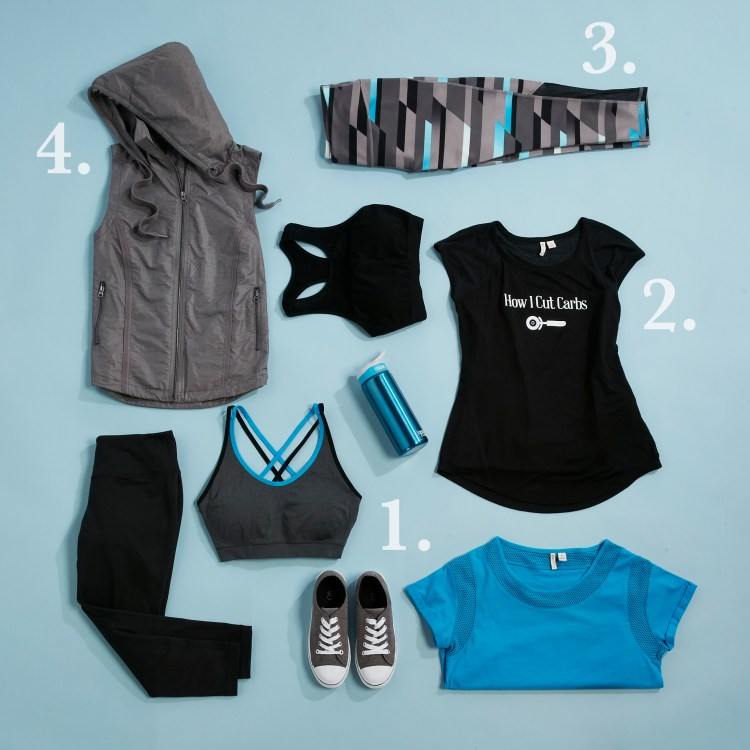 A lay down shot of a variety of active wear pieces in the new Cato Active Collection.