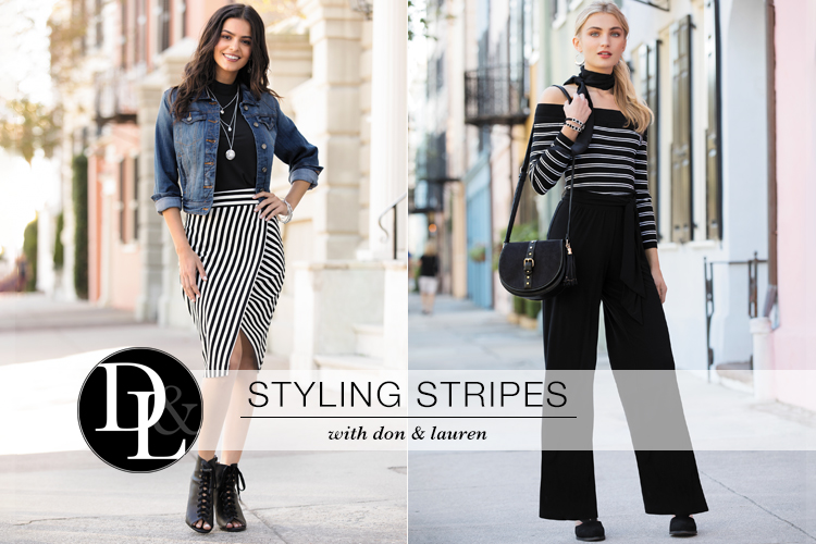 Styling Stripes with Don and Lauren. Two beautiful young women with outfits on that feature stripes.
