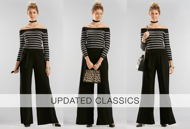 Updated Classics. A beautiful young woman wearing an off the shoulder black and white striped sweater, wide leg black pants and a leopard print handbag.