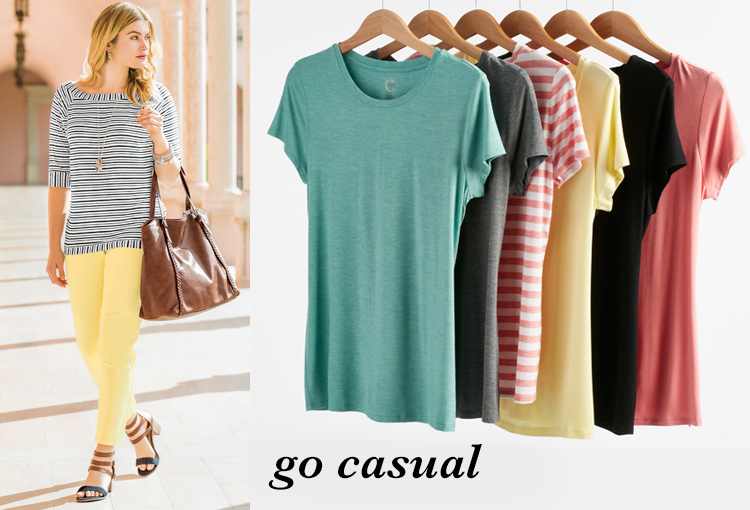 Go Casual. A beautiful woman wearing yellow chino pants with a striped top. A variety of casual tops that would pair perfectly with chinos.