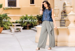 The Classic Palazzo. A beautiful plus size woman wearing a denim sleeveless top and Gray palazzo pants.