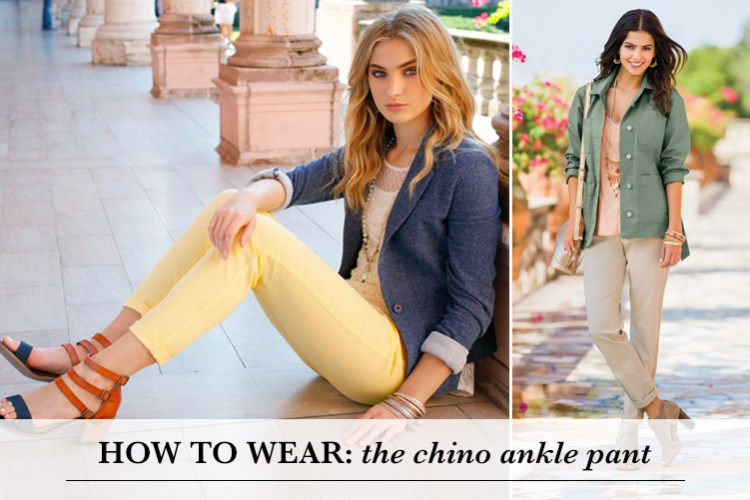 How to Wear: The chino ankle pant. Two women wearing outfits that feature the new Cato Chino Ankle pant.