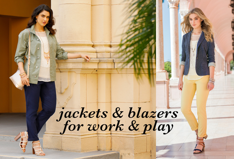 Jackets & Blazers for Work and Play. Two women wearing chino pants and blazers looking very stylish.