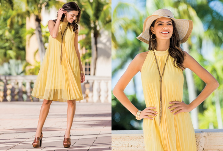 Beautiful woman wearing yellow pleated swing dress outside looking so happy. Another close up shows her in the same outfit with a floppy hat on