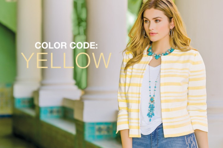 Color Code: Yellow! Model wearing yellow striped jacket