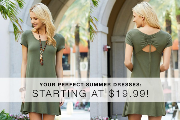Your Perfect Summer Dresses: Starting at $19.99. A beautiful woman wearing a summer dress that is only $19.99 at Cato