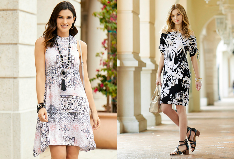 Two beautiful women wearing printed summer dresses