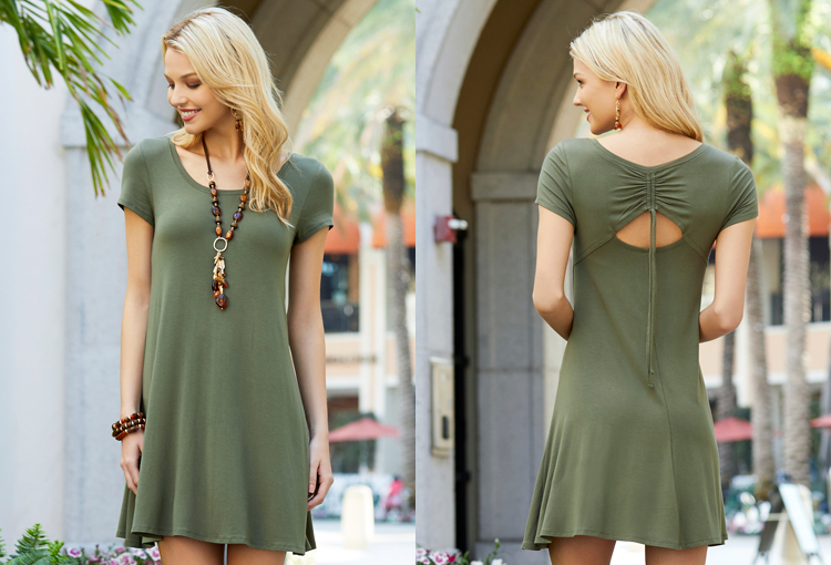A beautiful woman wearing a summer dress that is only $19.99 at Cato