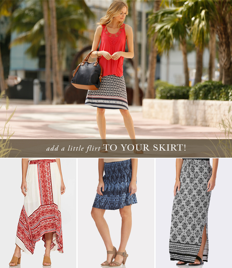 Add a little flirt to your skirt! A variety of skirt styles available at Cato