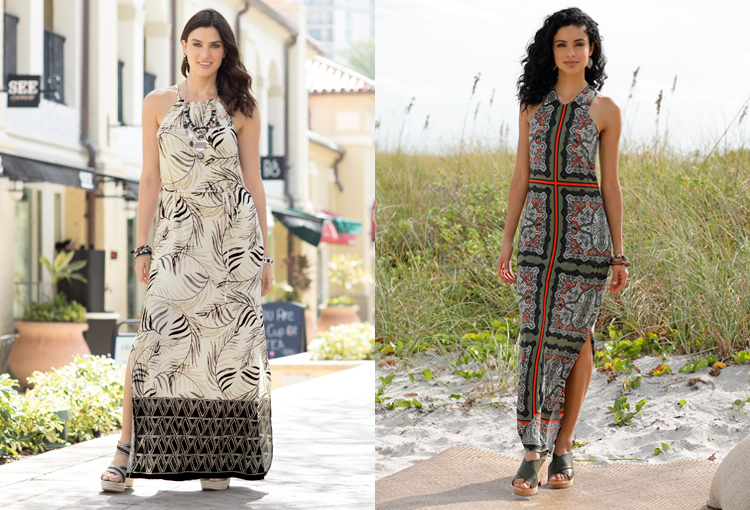 Two beautiful women wearing maxi dresses