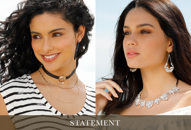 Statement. Two models wearing bold, statement making choker necklaces