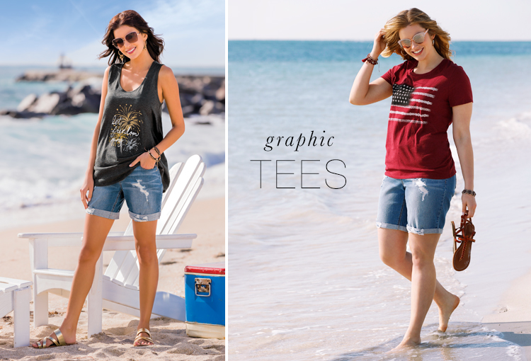 """Graphic Tees. A model wearing a Cato tank top that says, """"Let Freedom Ring"""" and another model wearing an american flag t shirt."""