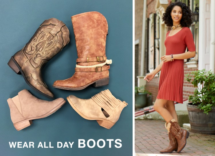 "a variety of boots with caption, ""wear all day boots."""
