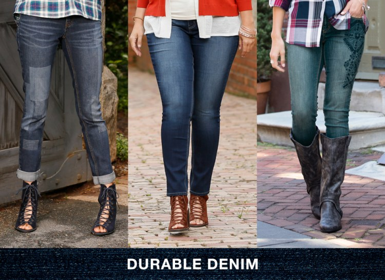 """3 women wearing jeans with caption, """"Durable denim"""""""