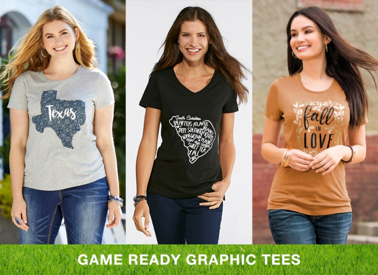 "Caption, ""Game Ready Graphic Tees"" with three women in fun graphic tees"