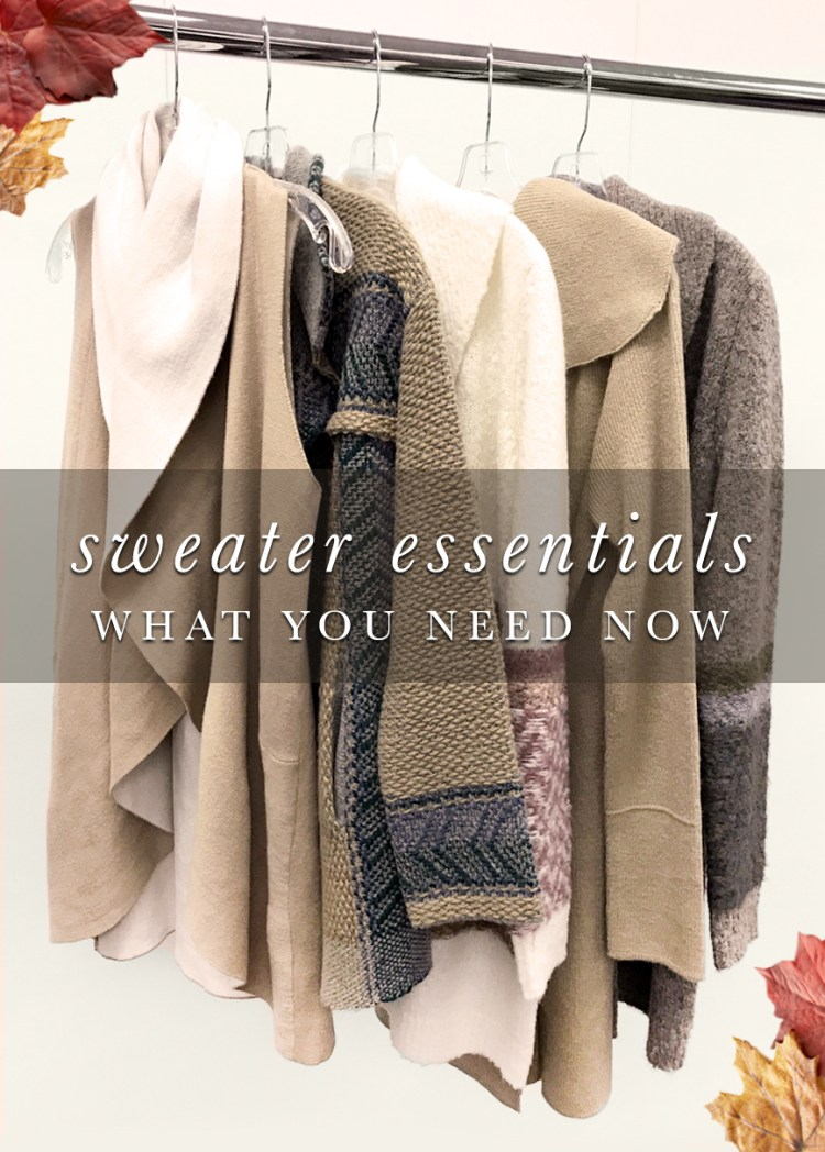 Must Have Sweaters: What you need now! Sweaters hanging in a closet