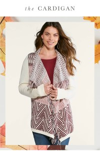 The Cardigan. a woman looking cozy in a fringed cardigan.