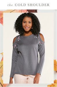 The Cold Shoulder: A woman in a cold shoulder sweater