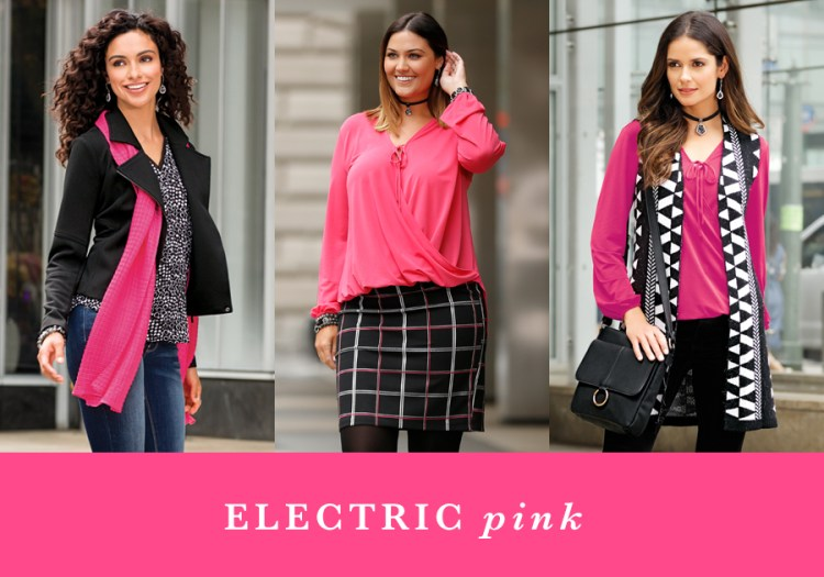 "Three women in pink with the caption, ""Electric Pink""."