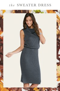 The Sweater Dress. A woman in a cable knit gray sweater dress
