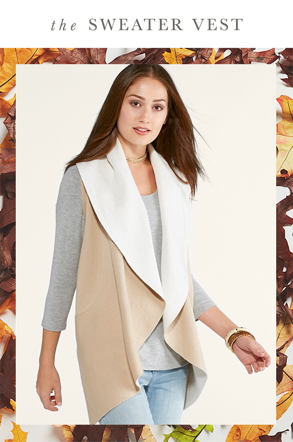 The Sweater Vest. A woman in a neutral sweater vest and long sleeve top