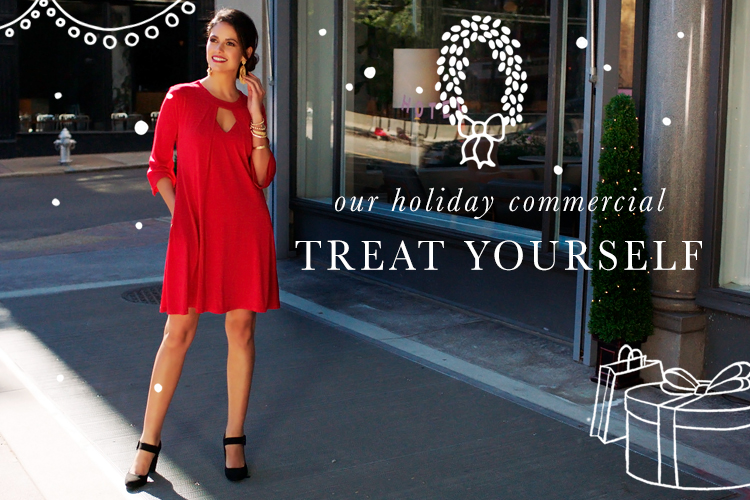 "A beautiful woman in a red swing dress and black heels standing outside a shopping center. Captioned, ""Our holiday commercial, 'Treat Yourself.'"""