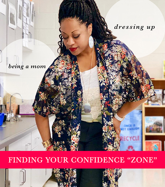 """A woman wearing a lace top and kimono, pendant necklace and statement earrings captioned, """"being a mom,"""" """"dressing up,"""" """"Finding your confidence zone"""""""
