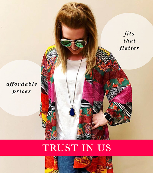 "A woman wearing a colorful kimono and pendant necklace with captions, ""Affordable prices,"" ""Fits that flatter,"" ""Trust in Us."""