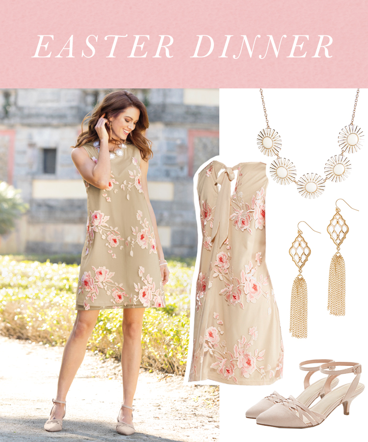 """""""Easter Dinner"""" A woman wearing a neautral floral shift dress, nude heels, a statement necklace and earrings."""