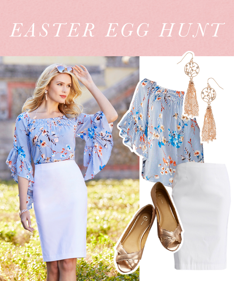 """""""Easter Egg Hunt"""" A woman in a white pencil skirt, floral angel sleeve top, flats and gold earrings."""