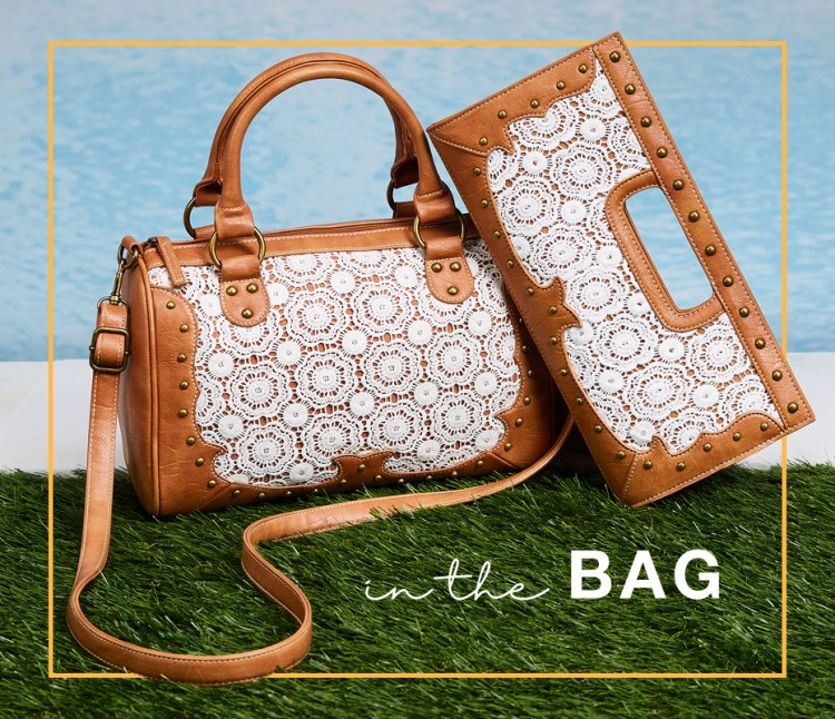 "Captioned, ""In the bag."" with a leather and lace handbag and clutch pictured."