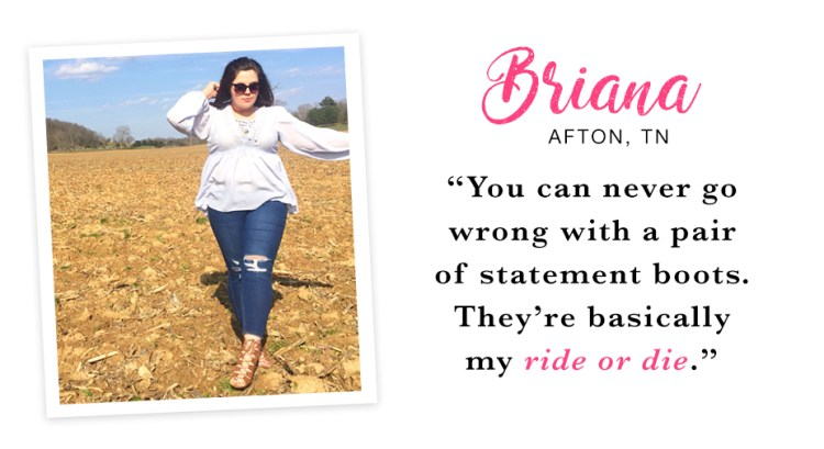 """A young woman standing outside in a large field wearing a white flowy top, distressed jeans, gladiator sandals and sunglasses. Captioned, """"You can never go wrong with a pair of statement boots. They're basically my ride or die. - Briana, Afton, TN"""""""