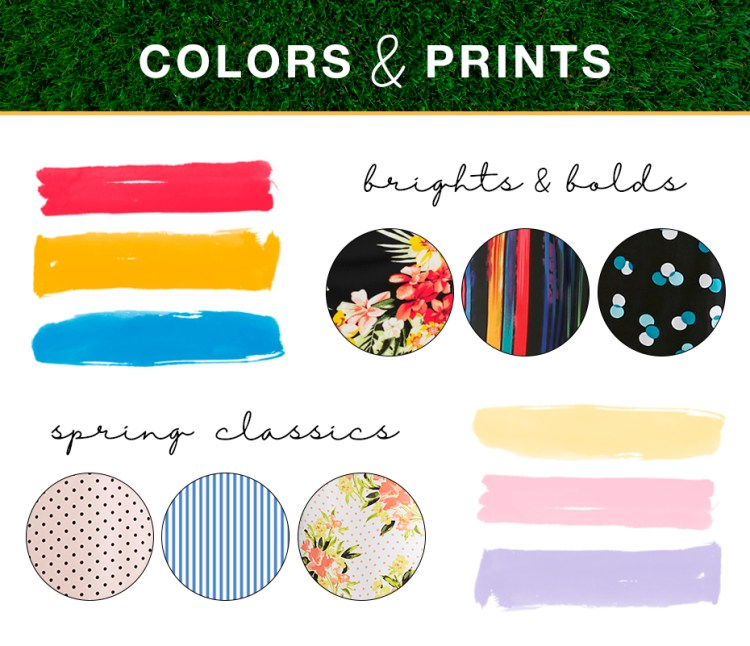 """Captioned, """"Colors and prints"""" with three bright spring color swatches and prints, three softer spring color swatches and prints."""