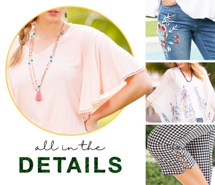 "Close up images of a flutter sleeve detail, crochet on denim detail, printing on a kimono detail and lace up details on cropped pants. Captioned, ""All in the details."
