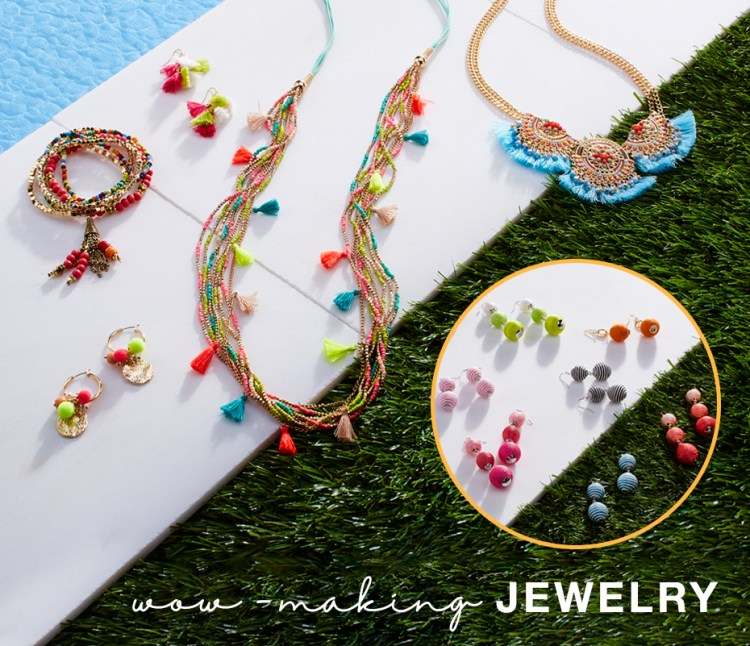 "Captioned, ""Wow-making jewelry"" with examples of colorful necklaces, bracelets and earrings."