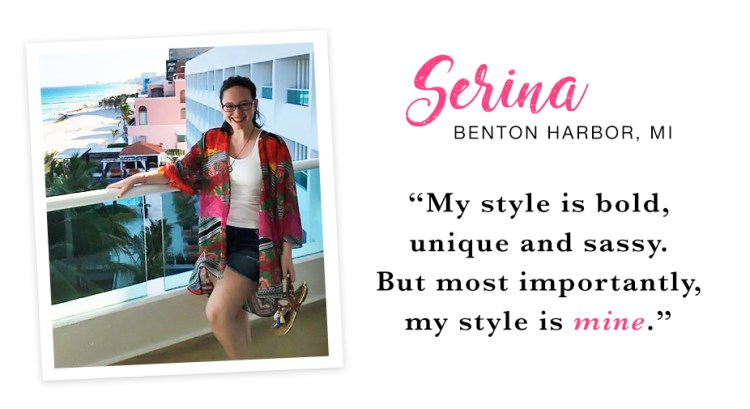 """A young woman standing on a balcony at the beach wearing a colorful kimono, denim shorts and sandals. Captioned, """"My style is bold, unique and sassy. But most importantly, my style is mine. - Serina, Benton Harbor, MI."""""""