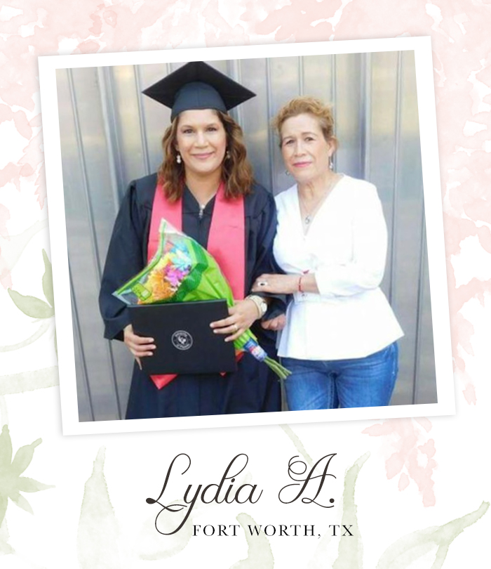 "A proud mother standing next to her adult daughter in a graduation cap and gown holding flowers. Captioned, ""Ludia A. Fort Worth, TX"""