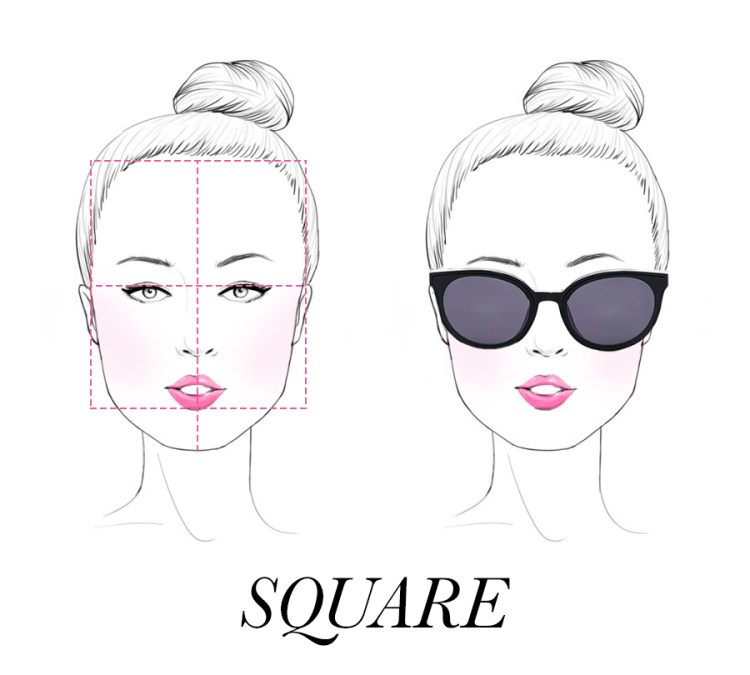A square face shape with round shaped sunglasses on.