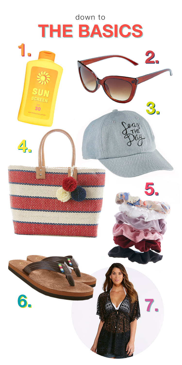 Down to the Basics: Picture of 1. Sunscreen, 2. Sunglasses, 3. Hat, 4. Beachbag, 5. Scrunchies, 6. Sandals, 7. Cover-up