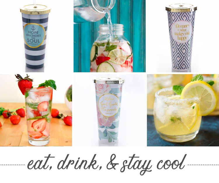 Eat, Drink and Stay cool. Photos of cool beverages and cute mugs.
