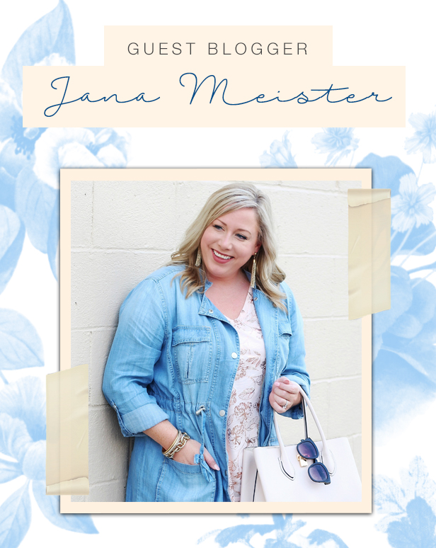Guest Blogger Jana Meister in a chambray jacket and printed top looking happy and stylish.