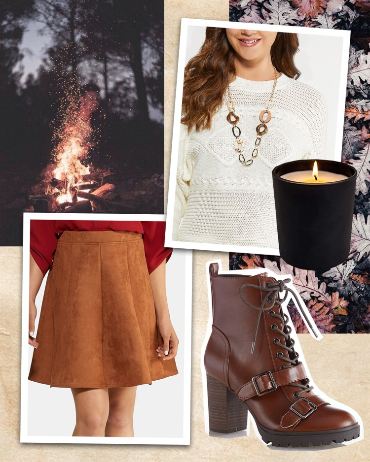 A white cable knit pullover sweater paired with a long artisan necklace, cognac faux suede mini skirt, and heeled hiker boots with a double buckle.