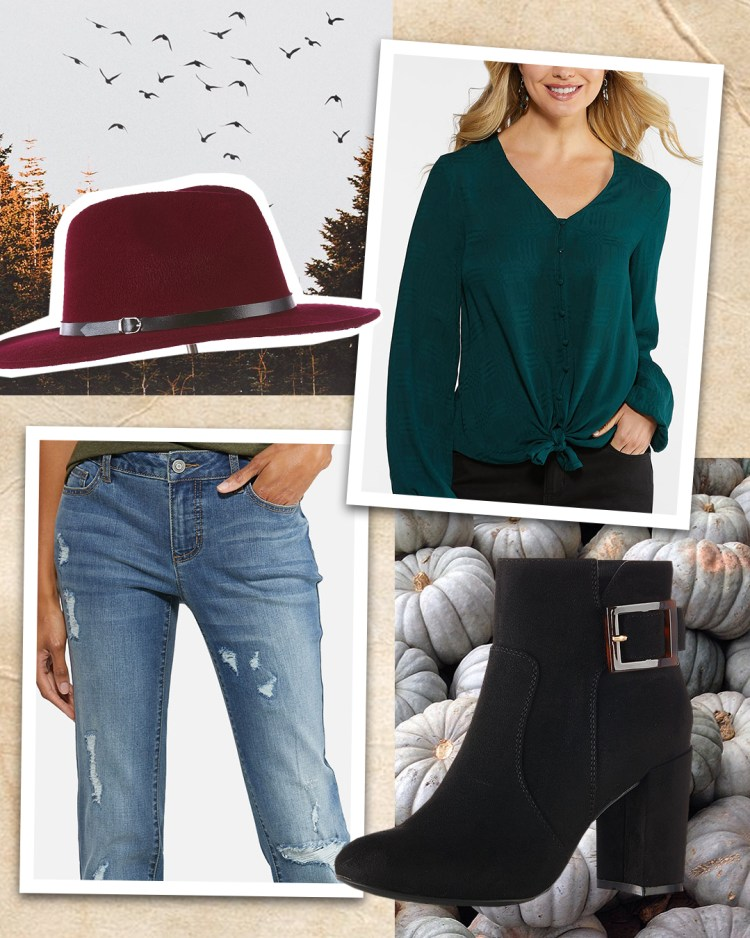 For a weekend look, this outfit features a forest green long sleeve top and distressed medium wash denim jeans paired with a black bootie featuring a classic tortoise buckle. This look is finished off with a burgundy wide brimmed hat.