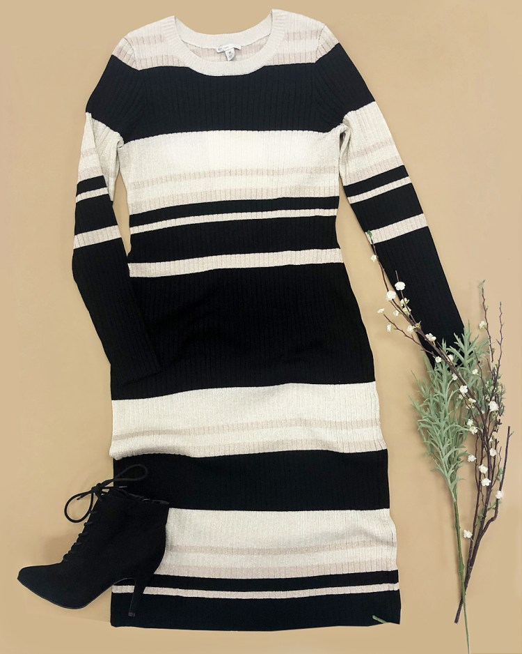 Black and white metallic stripe sweater dress, and black faux suede lace up booties