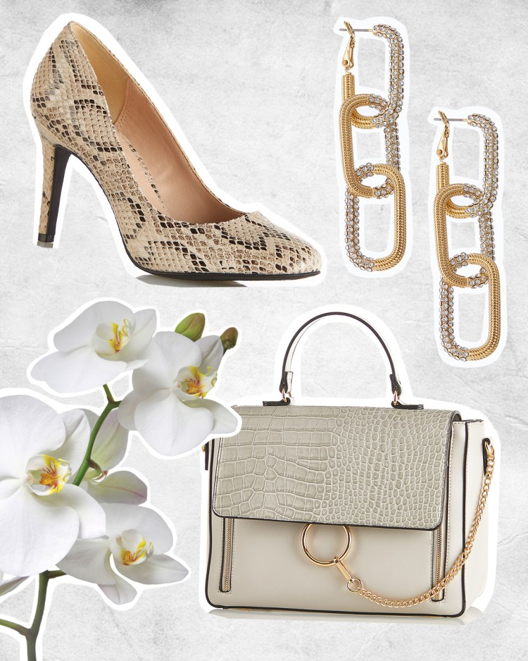 Snakeskin Pumps, Link Stone Earrings, and Croc Chain Strap Satchel