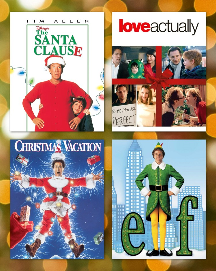 Disney's The Santa Clause, Love Actually, National Lampoon's Christmas Vacation, and Elf