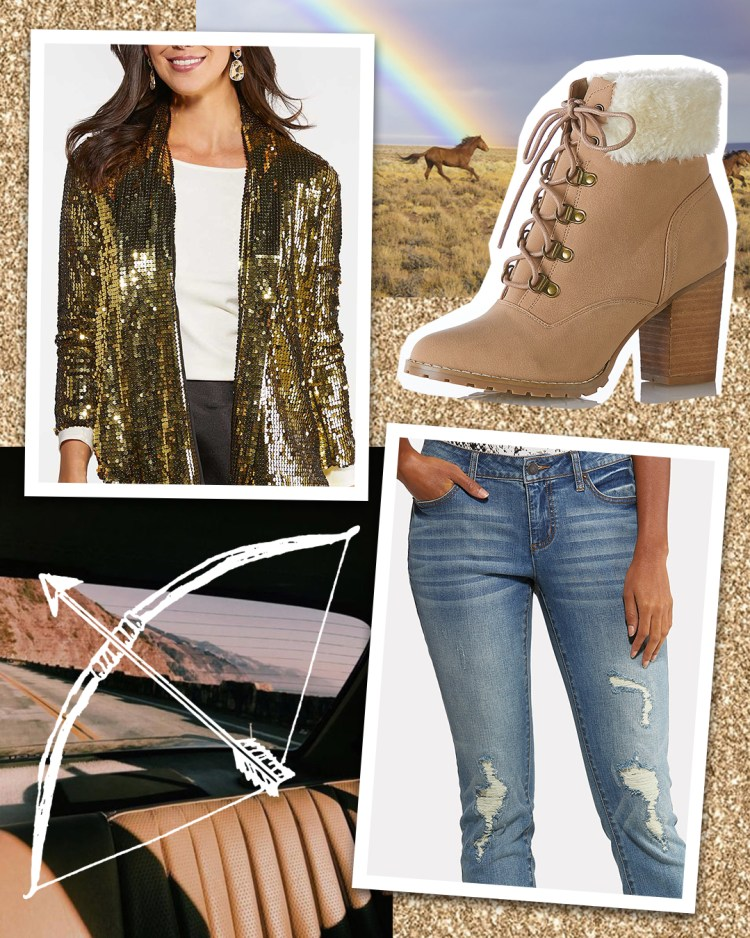 Gold Sequin Jacket, Destructed Dark Wash Denim Jeggings, and Sherpa Cuff Ankle Boots in Tan