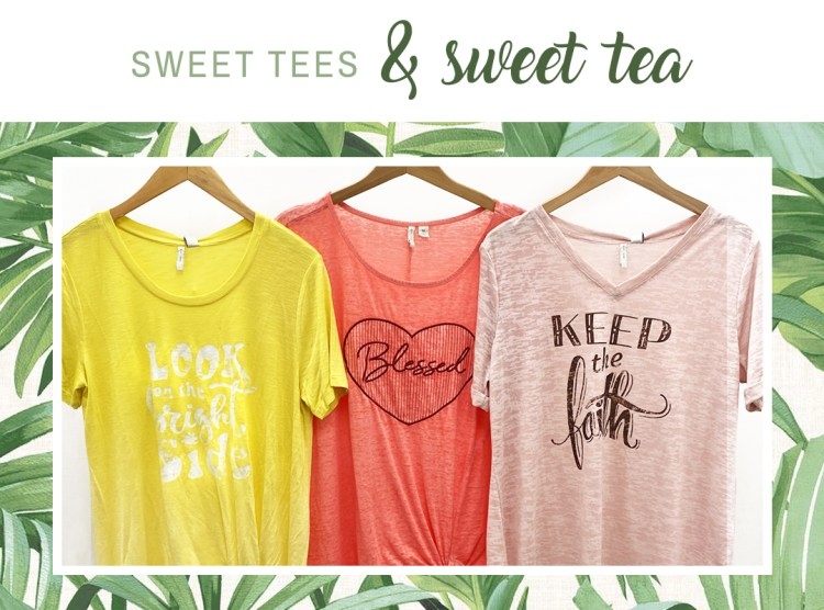 Cato's positive tee shirts featuring the on the bright side tee in maize, the blessed tie front tee in living coral, and the keep the faith tee in pink.