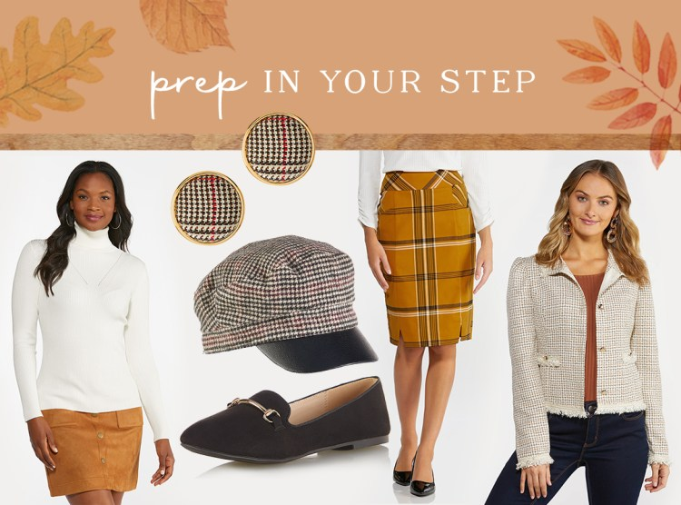 Preppy styles featured at Cato Fashion in shades of houndstooth, gold, and black with a Chanel influence including our Solid Ribbed Turtleneck Top,Plaid Button Clip-On Earrings,Houndstooth Cabbie Hat,Faux Suede Hardware Flats,Gold Plaid Pencil Skirt, and Tweed Fringe Jacket.